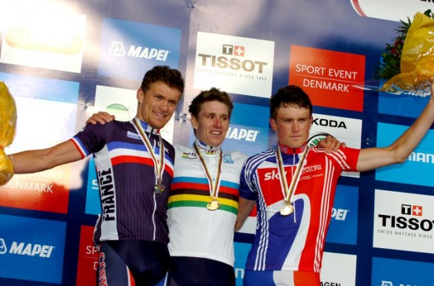 Triple A: Arnaud Demare, Adrien Petit and Andrew Fenn on the podium in Denmark. Photo Fotoreporter Sirotti.