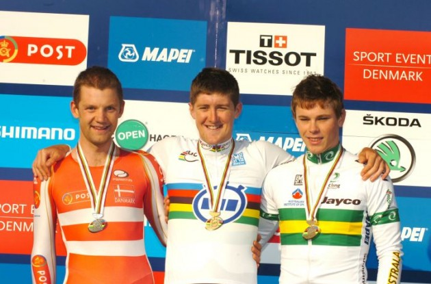 Luke Durbridge, Rasmus Christian Quaade and Michael Hepburn on the podium in Copenhagen, Denmark. Photo Fotoreporter Sirotti.