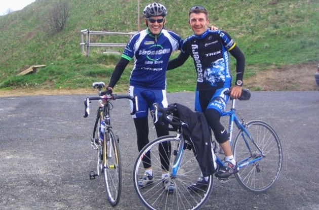 Peter Thomson and Yaroslav Popovych (now with Team RadioShack) coinciding on their 2007 reconnaissance of the Zoncolan for the Giro d'Italia – both agreeing that triple or compact crankset (34 x 28) is a necessity in northern Italy!