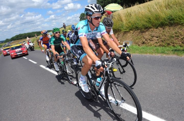 Team Omega Pharma-QuickStep's Martin Velits leads today's breakaway group. Photo copyright Tim de Waele.