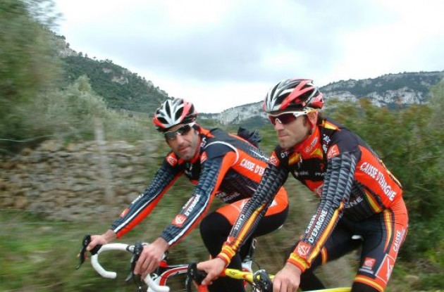 Garcia Acosta and Valverde during one of the many training rides.