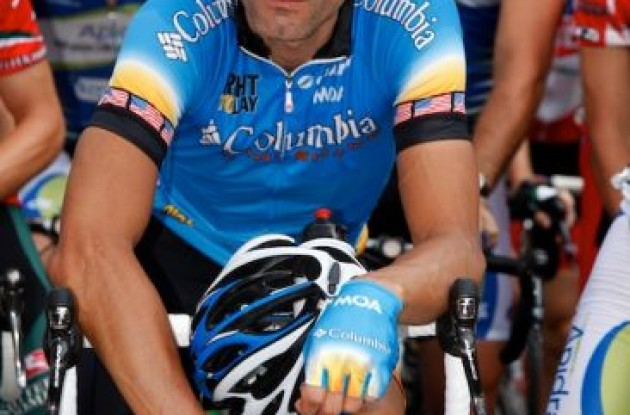 "George Hincapie (Team Columbia) at the start. Photo copyright <A HREF=""http://pa.photoshelter.com/usr-show/U0000yEwV90OAoAE"" TARGET=""_BLANK"">Ben Ross</A>."