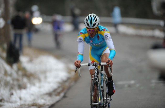 Alberto Contador (Team Astana) on his way to victory. Photo copyright Fotoreporter Sirotti.