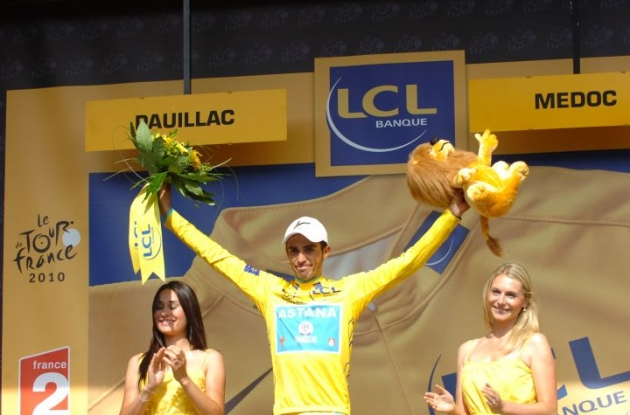 Alberto Contador leads the Tour de France 2010 by 39 seconds to Andy Schleck. Photo copyright Fotoreporter Sirotti.