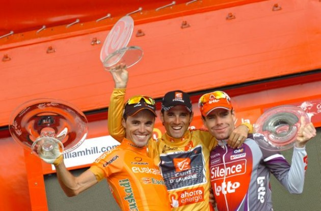 Sanchez, Valverde and Evans on the podium in Madrid. Photo copyright Fotoreporter Sirotti.