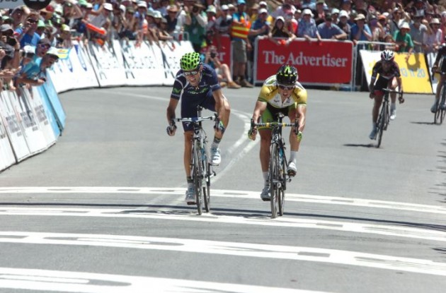 Team Movistar's Alejandro Valverde sprints to stage victory in comeback race. Photo Fotoreporter Sirotti.
