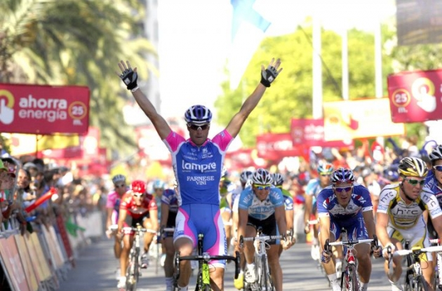 Alessandro Petacchi wins stage 7 of the 2010 Tour of Spain for Team Lampre. Photo copyright Fotoreporter Sirotti.