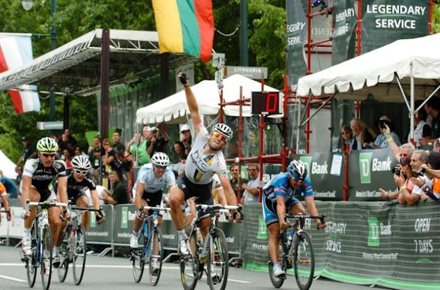 Team HTC-HighRoad's Alex Rasmussen (Denmark) sprints to win in 2011 TD Bank Philadelphia International Cycling Championship ahead of Team Liquigas-Canondale's Peter Sagan and German Robert Förster of Team UnitedHealthcare Pro Cycling.