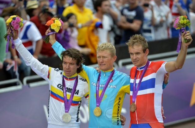 Kazakhstan's Alexandr Vinokourov wins Olympic gold in London, Great Britain. Columbia's Rigoberto Uran Uran wins Olympic silver medal and Alexander Kristoff of Norway takes Olympic bronze. Photo Fotoreporter Sirotti.