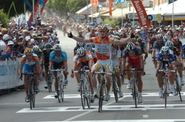 Andre Greipel takes his third stage win. Photo copyright Fotoreporter Sirotti.