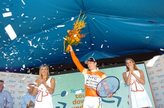 Andre Greipel (Team HTC-Columbia) celebrates winning the 2010 Tour Down Under. Photo copyright Fotoreporter Sirotti.