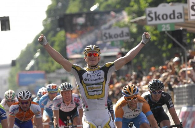 German sprinter Andre Greipel finally sealed a stage win on Thursday after a so-far frustrating Giro d'Italia 2010. Photo copyright Fotoreporter Sirotti.
