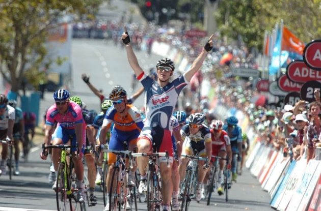 Team Lotto-Belisol's Andre Greipel sprints to stage victory in final stage of 2012 Santos Tour Down Under. Photo Fotoreporter Sirotti.