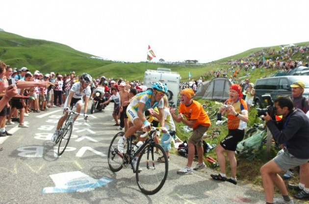 Alberto Contador leads up the Col de la Madeleine closely tailed by Andy Schleck. Photo copyright Fotoreporter Sirotti.