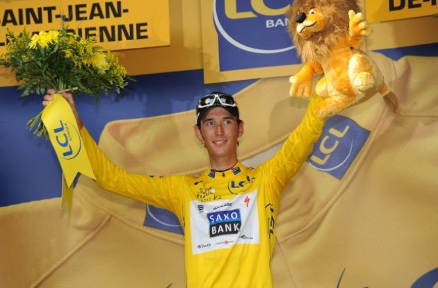 "Andy Schleck now leads the Tour de France 2010. Need we remind him that if the rest of the peloton hadn't waited for him when he and his brother crashed in stage two, he would have lost 4-5 minutes in that stage. Who waited for Evans and his fractured elbow in today's stage? Schleck for sure didn't. So much for ""fair play"". Photo copyright Fotoreporter Sirotti."