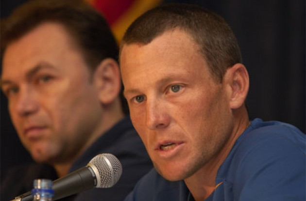 Lance Armstrong at the press conference. Photo copyright Ben Ross/Roadcycling.com/www.benrossphotography.com.