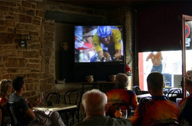 Tour watching in a small French cafe. Allez Armstrong!