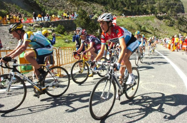 Lance Armstrong, Cadel Evans and Andy Schleck. Photo copyright Fotoreporter Sirotti.