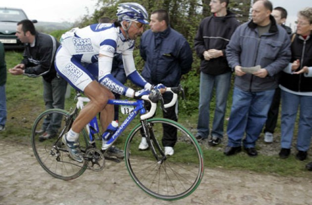 Tough Baldato on his way to Roubaix. Photo copyright Roadcycling.com.