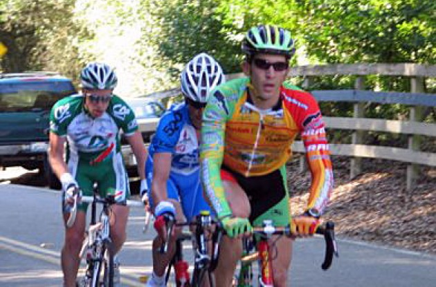 Jacques-Maynes, Creed, and Kaggestad working hard. Photo copyright Roadcycling.com.