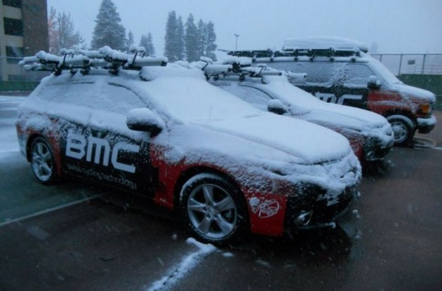 Snowy Team BMC Racing cars before the planned start of stage 1 of Tour of California 2011.
