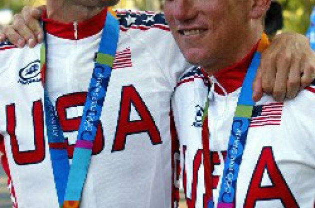 Bobby Julich and Tyler Hamilton at the 2004 Olympics.