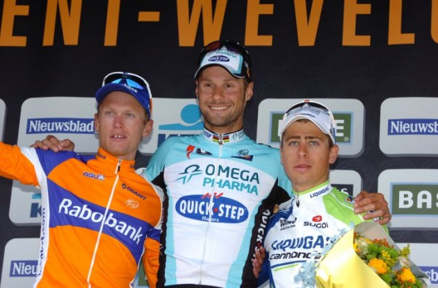 Boonen, Breschel and Sagan on the podium in Wevelgem. Photo Fotoreporter Sirotti.