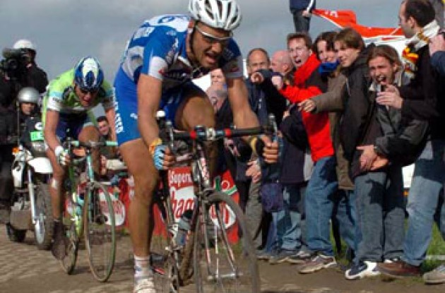 Boonen and Backstedt - Paris-Roubaix is pure pain! Photo copyright Fotoreporter Sirotti.