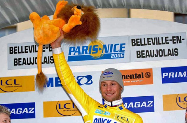 Tom Boonen on the podium on a cold day in Belleville, France.