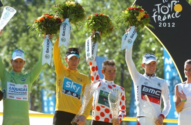 The four jerseys: Peter Sagan, Bradley Wiggins, Tejay van Garderen and Thomas Voeckler. Photo Fotoreporter Sirotti.
