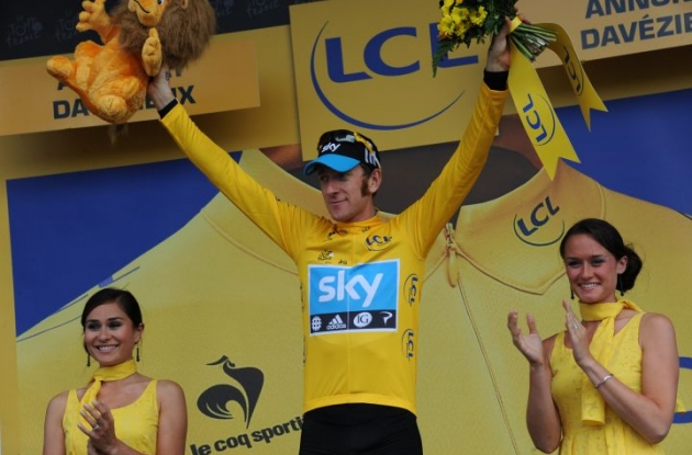 Team Sky's Bradley Wiggins on the podium in France. Photo Fotoreporter Sirotti.