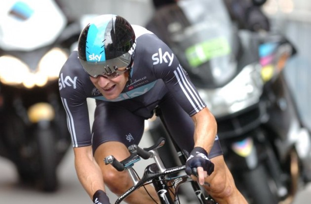 Team Sky's Bradley Wiggins finished 2nd today, 1 second behind Durbridge. Photo Fotoreporter Sirotti.