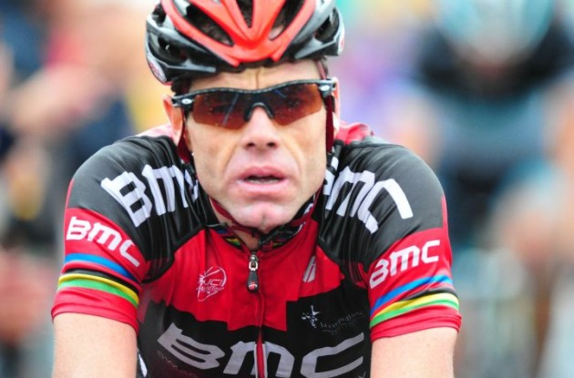 Cadel Evans attacked on the final climb. A great race animator. Photo Fotoreporter Sirotti.