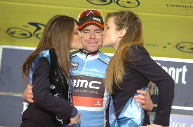 Team BMC Racing's Cadel Evans celebrates his stage win and overall 2011 Tirreno-Adriatico lead on the podium in great fashion and great surroundings. Photo Fotoreporter Sirotti.