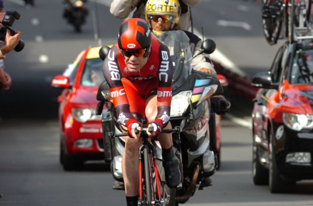 Team BMC Racing's Cadel Evans did not finish in the top 10 today. Photo Fotoreporter Sirotti.