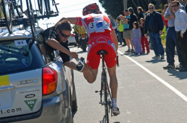 Cancellara gets his left cleat oiled. Photo copyright Roadcycling.com.