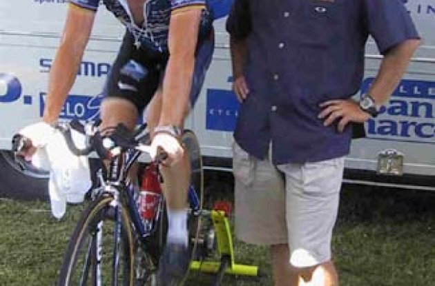 Lance Armstrong and Chris Carmichael at the Tour de France.