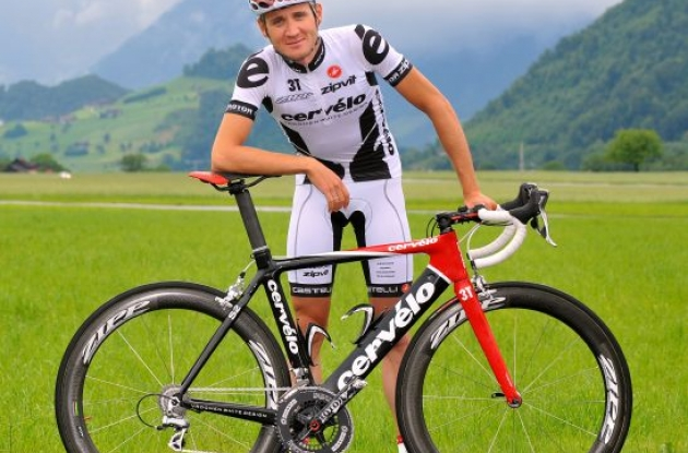 Cervelo TestTeam's new summer team kit for the Tour de France 2009. Photo copyright Tim de Waele.