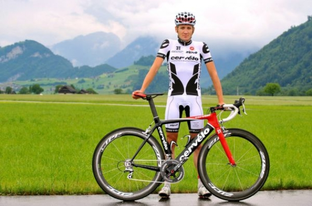 Cervelo TestTeam's new summer team kit for the 2009 Tour de France. Photo copyright Tim de Waele.