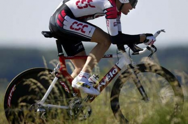 Tyler Hamilton and the rest of Team CSC will ride the team time trial on lean, mean power machines made by Cervelo.