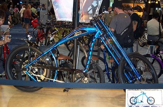 Nirve's beautiful blue custom chopper. Photo copyright Roadcycling.com.
