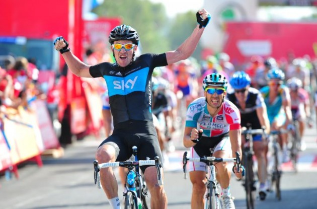 Christopher Sutton grabs the win in stage 2 of the 2011 Tour of Spain. Photo Fotoreporter Sirotti.