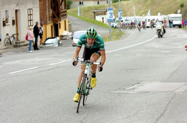 Christophe Kern attacks for Team Europcar. Photo Fotoreporter Sirotti.