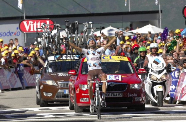 Christophe Riblon wins stage 14 of the 2010 Tour de France. Photo copyright Fotoreporter Sirotti.