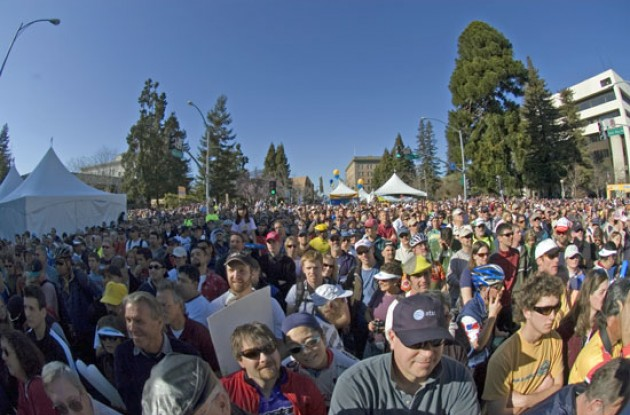 "Leipheimer: ""I got reports last night that they were expecting 50,000 people today and [thought] well, that's maybe a little bit much.  But I think you saw today that was at least as many people out there. I'm overwhelmed and very grateful."" Photo copyright Roadcycling.com."