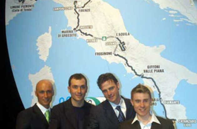 Garzelli, Basso, Savoldelli, and Cunego at the Giro route presentation. Photo copyright Fotoreporter Sirotti.