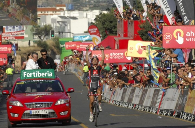 David Lopez Garcia wins stage 9 of the 2010 Vuelta a Espana. Photo copyright Fotoreporter Sirotti.