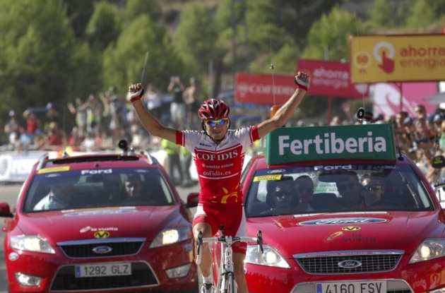 David Moncoutie (Team Cofidis) wins stage 8 of the 2010 Vuelta a Espana. Photo copyright Fotoreporter Sirotti.