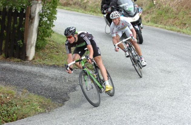 Team Sky's Edvald Boasson Hagen leads Thor Hushovd. Photo Fotoreporter Sirotti.