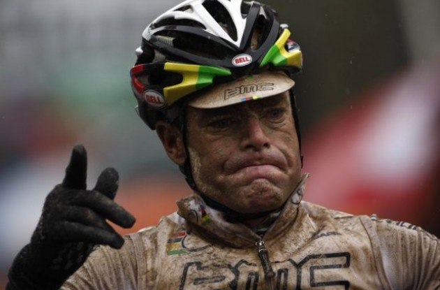 Cadel Evans (Team BMC Racing) wins a muddy stage 7 of the 2010 Giro d'Italia. Photo copyright Fotoreporter Sirotti.